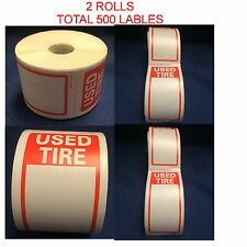 "Tire Label - Used Tire 2 Rolls Of 250 Stickers Size 6"" X 2.5"" Total 500 Stickers"