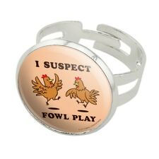 I Suspect Fowl Play Foul Chickens Funny Silver Plated Adjustable Novelty Ring