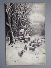 R&L Postcard: RCW Faulkner Panel Card, Christmas Greeting Winter Sheep Scene