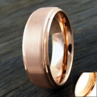 6/8mm Rose Gold Tungsten Beveled Edge Brushed Band Ring-Engraving Avail.