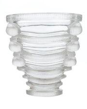 """Lalique France """"Saint Marc"""" Crystal art Glass Birds Vase c.1930s"""