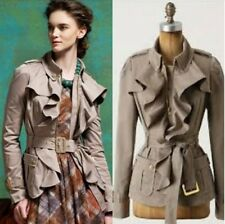 ELEVENSES Anthropologie Femme Trench Jacket beige ruffle high quality belted M 8