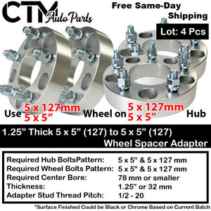 "4P 1.25"" THICK 5x5(5x127) TO 5x5(5x127) WHEEL SPACER ADAPTER FIT 1/2 JEEP&MORE"