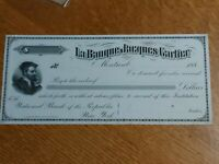 ➡➡VERY SCARCE 1880 La Banque Jacques Cartier Montreal Specimen Proof Cheque 188X