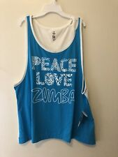 ZUMBA Fitness Wear Peace Love Loose Tank  Blue Z1T00903 Size XXL New with Tags