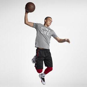 "Nike Jordan Rise Basketball Verbiage Tee ""Dunk Life"" Size XXL Carbon Heather"