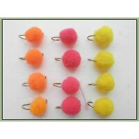 Egg flies, Trout Flies, 12 Pack Pink, Orange & Yellow Trout or Salmon Mixed 8/10