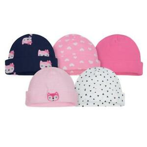 Gerber Baby 5-Pack Girls Pink and Blue Fox Caps
