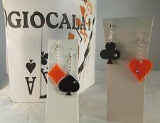 "4 Orecchini plexiglass argento/ swarovsky simboli carte  linea  ""GIOCALA"""