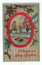 "Vintage Postcard ""A Bright and Happy Christmas"" Church Snow Scene Holly Ser B 11"