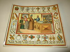 Old c.1890 Antique French Game PRINT JEWELRY / Metalware STORE - Game of Trades