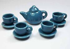 9-Piece Dollhouse Miniature Blue Ceramic Tea Set * Doll Mini Cup Teapot Saucer
