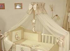 LUXURY BABY CANOPY /DRAPE + HOLDER 480cm WIDTH Fit COT BED Moon Star Beige