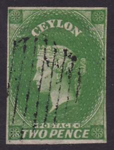 Ceylon. SG 3a, 2d yellowish green. Four margins. Fine used.