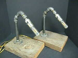 Pair Retro rustic Industrial Iron Pipe Lamp Desk Table Light lamp custom made