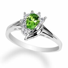 Ladies 10K White Gold Solid Ring Peridot (green) colored Cz