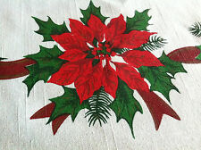 "Vintage Tablecloth Christmas Poinsettia 80"" x 62"