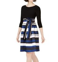 Jessica Howard Womens A-Line Dress Black Size 8 Striped 3/4 Sleeve $109- 322