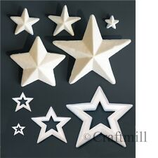 Polystyrene STARS plain white SOLID or OUTLINE style Christmas Craft Decorations