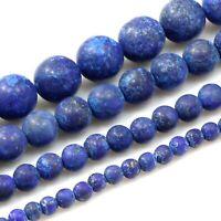 "Natural Blue Lapis Lazuli Matte Round Loose Beads 15"" 4,6,8,10mm Jewelry Making"