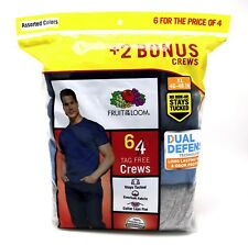 6 Blue Gray XL 46-48 Inch Fruit Of The Loom Crew Neck T-Shirts EG 117-122 CM