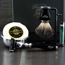 Classic 6 Piece Men's Shaving Set ft Gillette Mach3 & Pure Black Badger Brush