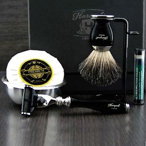 Classic 6 Piece Men's Shaving Set ft 3 Edge Razor & Pure Black Badger Brush