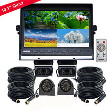 "HD 10.1"" Quad Monitor 4 Video 4Pin + 4 Side & Rear View CCD Cameras 24V-12V 33Ft"