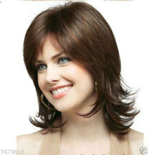 OUJF10491 short bangs dark brown women Wig  fashion straight health hair wigs