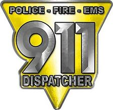 """911 Police Fire EMS Dispatcher Decal Yellow 6"""" REFLECTIVE LE02"""
