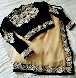 Indian designer saree with embroidered velvet blouse
