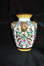 "Vintage Beautiful Majolica Pottery Vase 8 1/4""T Made in Italy RARE"