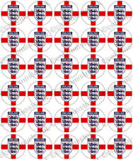 30 x England Football Flags Edible Rice Wafer Paper Cupcake Toppers