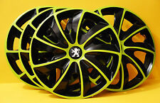 "15"" PEUGEOT 206,306,605 ,Partner,Expert..WHEEL TRIMS/COVERS,HUB CAPS,green&black"