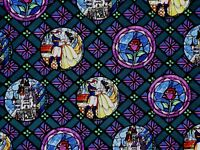 DISNEY BEAUTY & THE BEAST STAINED GLASS BELLE BADGES  COTTON FABRIC  BY THE YARD