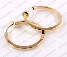 "2.5cm CLIP ON small 1""GOLD FASHION HOOPS clips HOOP EARRINGS non-pierced ears"