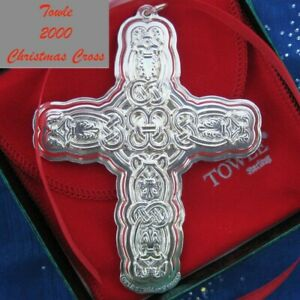 NEW • Towle 2000 CHRISTMAS CROSS Sterling Silver Ornament / Pendant  7th Edition