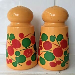 Emsa West Germany Orange Yellow Plastic Salt Pepper Cruet Set. Retro Vintage