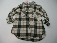 new PASSPORT Jacket Women's Size L Cotton Button-Up Hooded White/Gray Plaid
