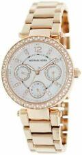 New Michael Kors Mini Parker Rose Gold Chronograph Women's Glitz Watch MK5616