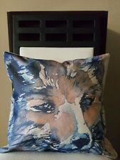 """Beautiful Watercolor Fox Close Up Throw Pillow Case Cover 18"""" US Seller"""