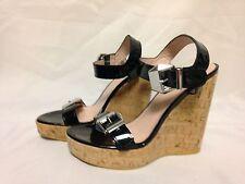 Stuart Weitzman Twomuch Cork Wedge Sandals Black Patent 10