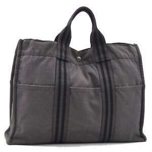 Authentic HERMES Fourre Tout MM Hand Tote Bag Gray D4144