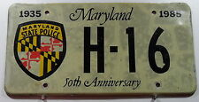 """Nummernschild USA aus Maryland """"STATE POLICE"""" 80/90er Jahre Troop """"H"""". 12938."""