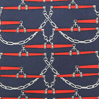 HERMES Geometric Chain Link Blue Red Designer Silk Neck Tie France 605 SA