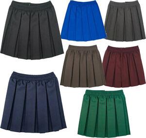 Girls Box Pleated School Uniform Elasticated Waist Kids Skirt Age 2-18 Years NEW