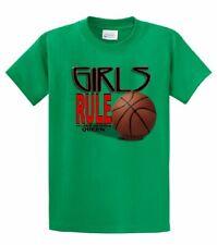 Basketball Girls Rule Hardwood Queen Short Sleeve Sports Team T-shirt Bball