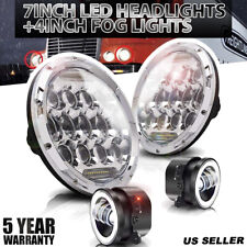 Fit Freightliner Century Class 7inch 75W LED Chrome Headlight Hi/Lo&4''Fog Light