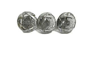 Rare Antique  Cut Glass Crystal And Brass  Door Knobs Lot Of 3 Matching