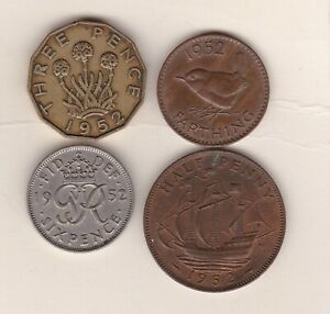 1952 GEORGE VI COIN SET OF 4 COINS IN NEAR VERY FINE OR BETTER CONDITION